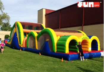 Mega Thrill Triple Lane Inflatable Obstacle Course